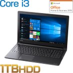 ダイナブック dynabook W6EZ35BLBF ノートパソコン Core i3 HDD1TB メモリ8GB Office付き 15.6型HD DVD Windows 10