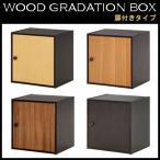 収納ボックス 扉・棚板付き ウッドグラデーションボックス