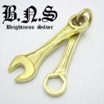金色の工具 ゴールドコンビネーションスパナ&六角めがねレンチペンダント 真鍮 ブラス