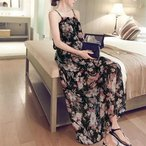 メール便送料無料シフォン マキシワンピース ロングドレス(ブラック)フラワープリントでリゾート気分
