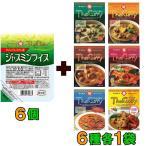 ヤマモリ ジャスミンライス 6個 + タイカレー 6種各1袋 6食セット『送料無料(沖縄・離島除く)』