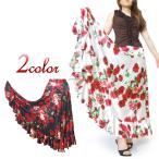 フラメンコ衣装 BF5927 サテンバラ柄ファルダ ダンス衣装 フラメンコ 衣装 スカート