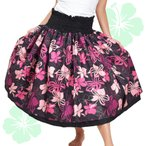 フラダンス衣装 JA5793 フラ ダブル ブラック×ピンク スカート フラ 衣装 パウスカート かわいい