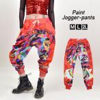 ヒップホップ衣装 EJ64123 落書きアートペイントジョガーパンツ ダンス 衣装 ヒップホップ ロングパンツ ズボン ゆったり