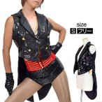 スパンコール 衣装 タキシード風スパンコールベスト ジャケット 袖なし 羽織 スパン ダンス衣装 ハロウィン コスプレ BB68290