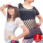ヒップホップ衣装 メッシュあみあみ半袖トップス tシャツ 半袖 シースルー トップス 肌見せ 黒 白 FP75210