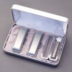 印鑑セット/実印・銀行印・認印3本セット/プラチナ+Sケース付-M-シルバーチタン-15-13.5-10.5mm/上彫り職人の作成印影