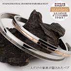 ペアバングル ペアブレスレット ダイヤモンド サージカル ステンレス スチール(316L) 刻印無料 刻印可能(文字彫り) 名入れ 円周率