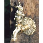 蛇口 立水栓/水栓柱に取付けアニマル蛇口(真鍮色)ウサギ ガーデン蛇口 水回り フォーセット