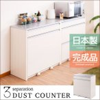 3分別 ダスト 26.5リットルペール 間仕切りカウンター 幅80cm キッチン収納 レンジ台 ダストボックス ゴミ箱 日本製 完成品