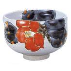 九谷焼 「椿」抹茶碗
