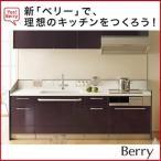 トクラス Berry ハイバックカウンター I型タイプ 間口:2550mm 扉:黒紅 Bシンク IHヒーター メイン水栓金具:水栓一体型浄水器