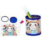 お絵かき工作キット ペン立て作り 青(10個) /  手作り 色塗り おえかき