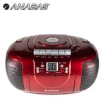 ラジカセ CD ラジオカセットレコーダー CDラジカセ CD-CB5 R ラジオレコーダー カセットレコーダー 乾電池 AM FM ワイドFM オーディオ CDプレーヤー 音楽 赤