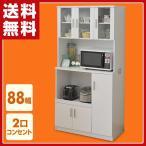 食器棚 電子レンジ台付き食器棚 収納 おしゃれ キッチン棚 レンジボード キッチンラック 台所 収納棚 ホワイト SSY-1890KB(WH)【あすつく】
