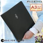 楽譜ファイル ト音記号 ポケット式ファイル(クリアファイル) A4、A3サイズ対応