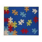 デスクカーペット ルームマット 『クロス』 ブルー 110×133cm 9800823