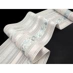 博多帯 夏帯 本場筑前博多織 黒木織物 葡萄唐草「白×ピンク」金印 八寸正絹 名古屋帯