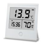 ショッピングインフルエンザ オーム電機 温湿度計 時計付き TEM-210-W 08-0091