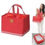 ボトムボーダー保冷ショッピングバッグ  レッド (2878)  レジかごサイズの保冷バッグ (粗品・記念品・景品・ノベルティ)
