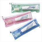 トラベル2点セット 1個 (00013) グリーン/ピンク/ブルー ケース入りの歯磨き・歯ブラシセット