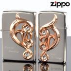 ZIPPOペア#200 #200 アラベスクハートメタルペア AHM-SP 銀ミラー ピンクゴールド スワロ付 ジッポーライター