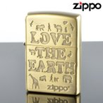 Zippo ジッポライター 2le-bb LOVE the EARTH アンティークブラス エッチング オイルライター