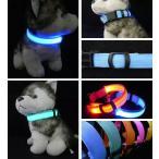 首輪 LED 夜 安全 光る ライト ナイロン 犬 猫 ペット 調節可能 散歩 雑貨