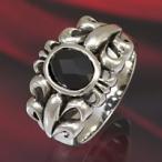 シルバーアクセサリー シルバーリング 指輪メンズ シルバー925リング 百合・ユリの紋章 ブラックジルコニア 男性用