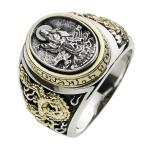 戒指 - シルバーリング 指輪 メンズリング 観音菩薩 和風 輪柄 ドラゴン 龍 竜 シルバー925