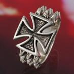 シルバーリング 指輪 メンズ アイアンクロス 十字架 スタッズ ハード シルバーアクセサリー
