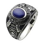 シルバーアクセサリー シルバーリング 指輪メンズ スターサファイア シルバーカレッジリング 指輪シルバー925リング