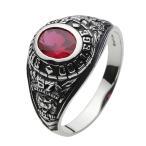戒指 - 指輪 メンズ カレッジリング ルビー シルバー925