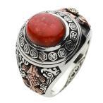 指輪 シルバーリング メンズ 赤珊瑚 サンゴ 和風 シルバー925