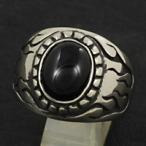 戒指 - 指輪 メンズ ホワイトメタルリング オニキス ファイヤーパターン