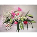 ラブテンダー・バラとユリとかすみそうと蘭の花束
