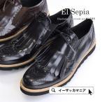 ウィングチップシューズ オックスフォード ウイングチップ シューズ フリンジ タッセル 厚底 レディース 靴 ローファー El Sepia
