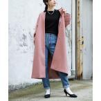ノーカラーコート レディース アウター 秋 冬 ロングコート オーバーコート きれいめ 長袖 大きいサイズ ゆったり zootie バックベルト ノーカラーコート