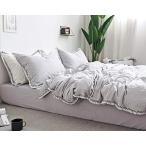 アンティーク寝具カバー 無地グレーの掛布団カバー ダブル 枕カバー2枚 房飾り付き