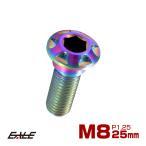 64チタン合金(TC4/GR5 Ti-6Al-4V) M8×25mm P=1.25 ブレーキ ディスク ローター ボルト カッティングヘッド 焼チタン風 虹色 JA076