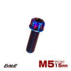 64チタン M5×15mm P0.80 デザイン六角ボルト T型トルクス穴 フランジ付き六角ボルト 焼きチタン風 Ti6Al-4V JA160
