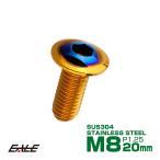 ブレーキ ディスク ローター ボルト M8×20mm P1.25 トライアングル ヤマハ用 SUSステンレス製 ゴールド&ブルー TD0352