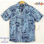 ショッピングアロハシャツ アロハシャツ 青幾何学模様 ブルーで統一されたお洒落なアロハシャツ メンズ大きいサイズ有