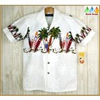 ショッピングアロハシャツ アロハシャツ メンズ ロングボード柄白 FAVANT 大きいサイズ有 サーフボード柄ハワイ仕入れ オフホワイト