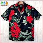 アロハシャツ メンズ RED HIBISCUS BLACK FAVANT 黒地赤花柄深緑葉柄 レーヨン 格安激安 大きいサイズ有 ハワイ仕入 FAVANT