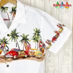 アロハシャツ メンズ ホワイト地クラシックカーロングボード柄 PW HAWAII ハワイ仕入 大きいサイズ有
