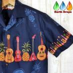 アロハシャツ メンズ ハワイ製 ネイビーブルー地ウクレレ&パイナップル柄 WinnieFashion HawaiianTogs Made in Hawaii  紺色