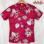 アロハシャツ メンズ ディープレッド地/葉・花柄アロハシャツ 大きいサイズ有 PW HAWAII ハワイ仕入お買い得品