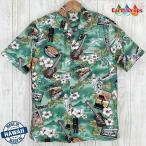 ショッピングアロハシャツ アロハシャツ メンズ ハワイ製 Coffee・Winnie Fashion 緑地/コーヒー柄 ウィニーファッション・大きいサイズ有 コナコーヒー
