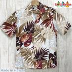 アロハシャツ メンズ  クリーム地/ブリックレッド葉柄レーヨン ハワイ製  ウィニーファッション・大きいサイズ有